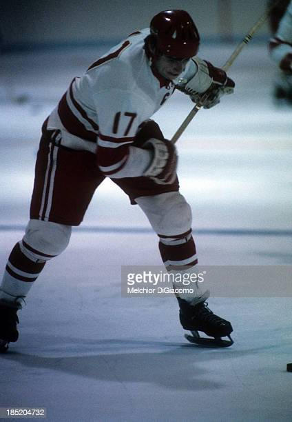 Valeri Kharlamov of the Soviet Union shoots during warm ups before the game with Canada in Game 1 of the 1972 Summit Series on September 2 1972 at...