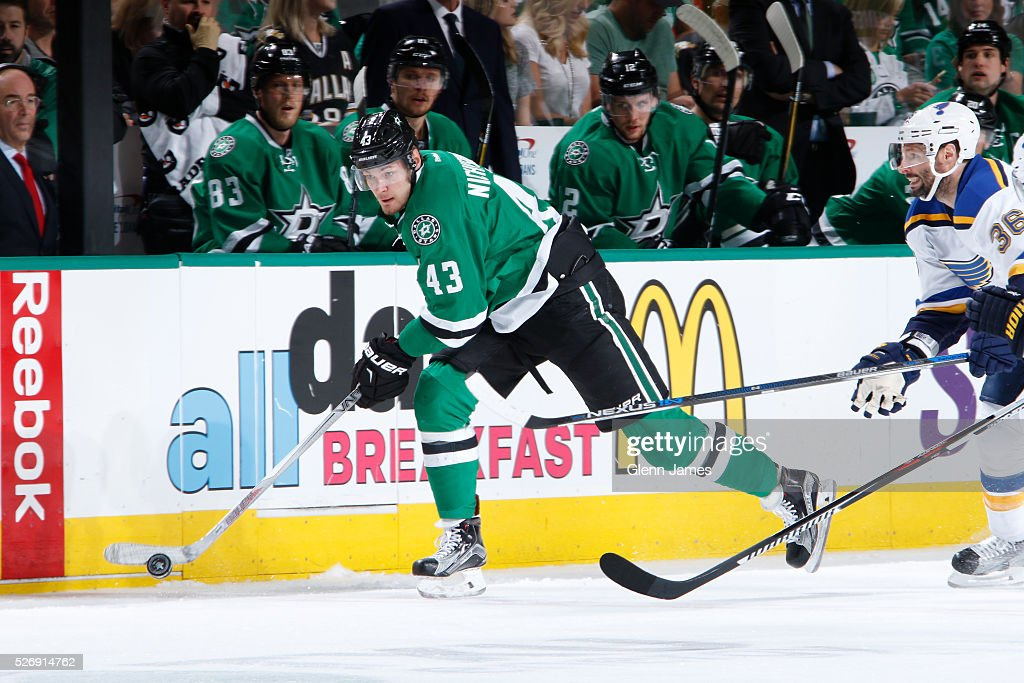 Valeri Nichushkin #43 of the Dallas Stars handles the puck against the St. Louis Blues in Game Two of the Western Conference Second Round during the 2016 NHL Stanley Cup Playoffs at the American Airlines Center on May 1, 2016 in Dallas, Texas.