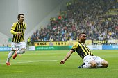 Valeri Qazaishvili Guram Kashia celebrates after scoring 10 during the Europa League playoffs Final match between Vitesse Arnhem and SC Heerenveen at...