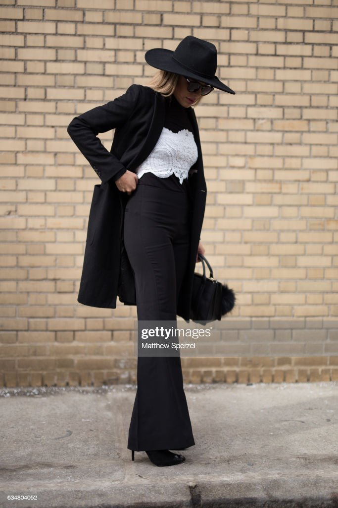 Valeria Barrientos is seen attending Taoray Wang/Creatures of the Wind during New York Fashion Week wearing Zara and Theory on February 11, 2017 in New York City.