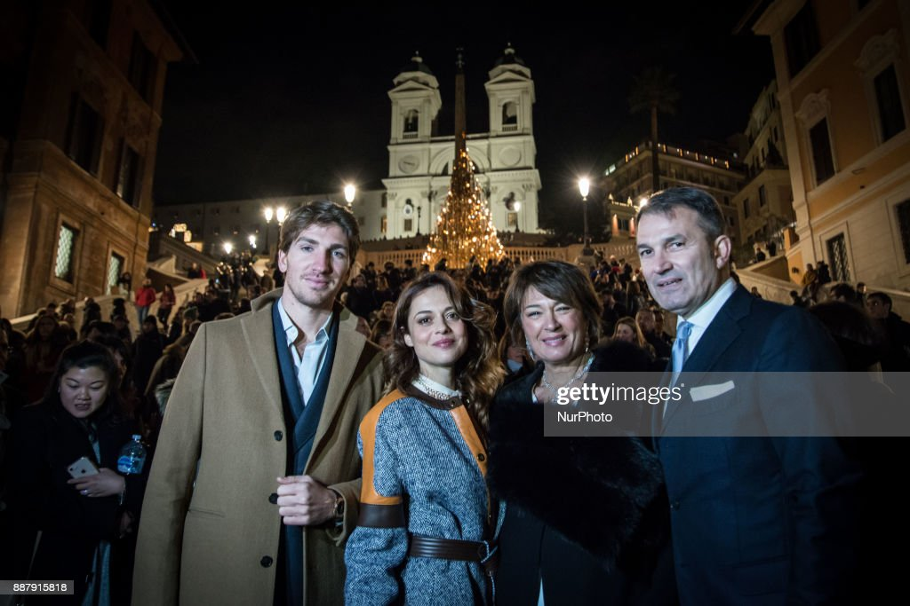 Valeria Bilello ,Alan Cappelli Goetz,Tiziana Cuscuna and Lelio Gavazza attend Christmas Lights At Bvlgari Boutique Rome on December 7, 2017 in Rome, Italy.
