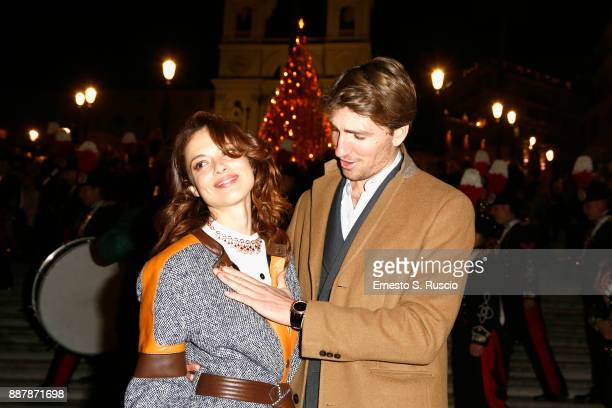 Valeria Bilello and Alan Cappelli Goetz attend Christmas Lights At Bvlgari Boutique Rome on December 7 2017 in Rome Italy