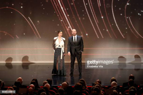 Valeria Bilello and Marco D'Amore attend the 61 David Di Donatello ceremony on March 27 2017 in Rome Italy