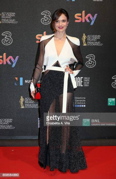 Valeria Bilello walks the red carpet of the 61 David Di Donatello on March 27 2017 in Rome Italy