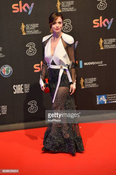 Valeria Bilello walks the red carpet of the 61^ David Di Donatello on March 27 2017 in Rome Italy