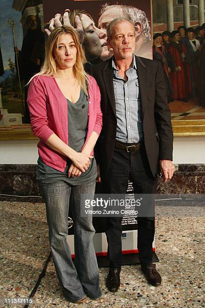 Valeria Bruni Tedeschi and Pascal Greggory attend the 'Reve d'automne' press conference held at the Pinacoteca di Brera on April 1 2011 in Milan Italy