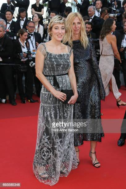 Valeria Bruni Tedeschi and Sandrine Kiberlain attend the 70th anniversary event during the 70th annual Cannes Film Festival at Palais des Festivals...