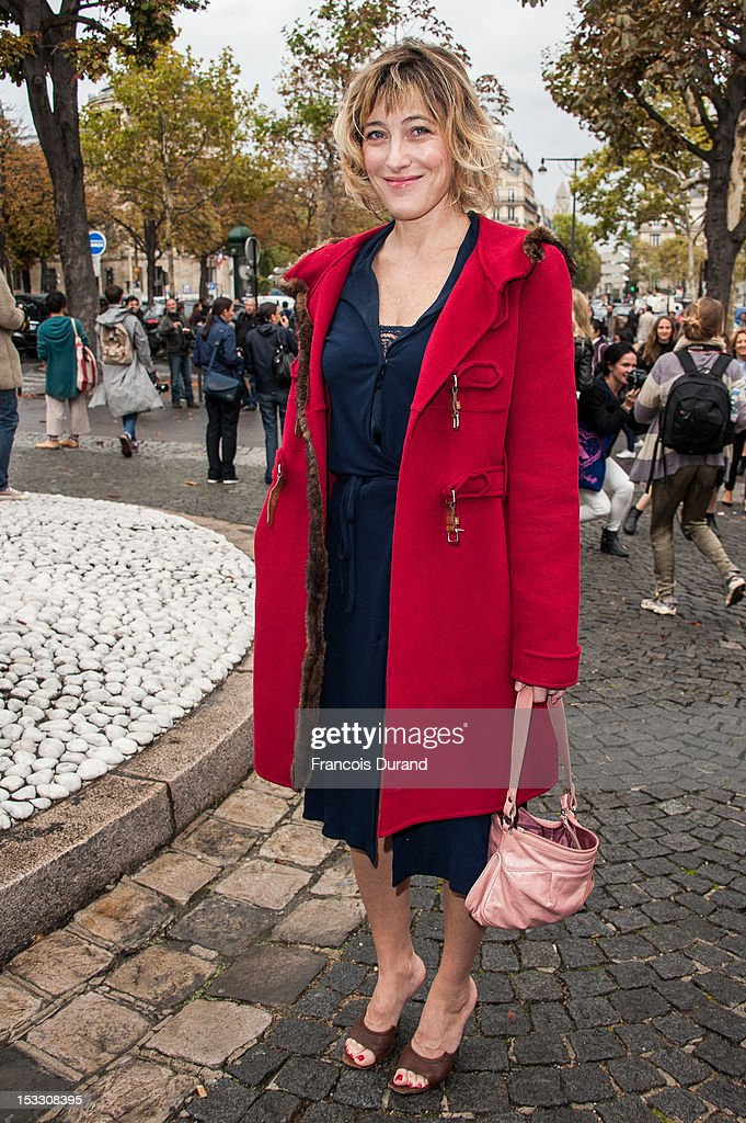 Valeria Bruni Tedeschi arrives at the Miu Miu Spring/Summer 2013 show as part of Paris Fashion Week on October 3, 2012 in Paris, France.