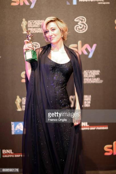 Valeria Bruni Tedeschi recives the David Di Donatello award during the 61 David Di Donatello at De Paolis Studios on March 27 2017 in Rome Italy