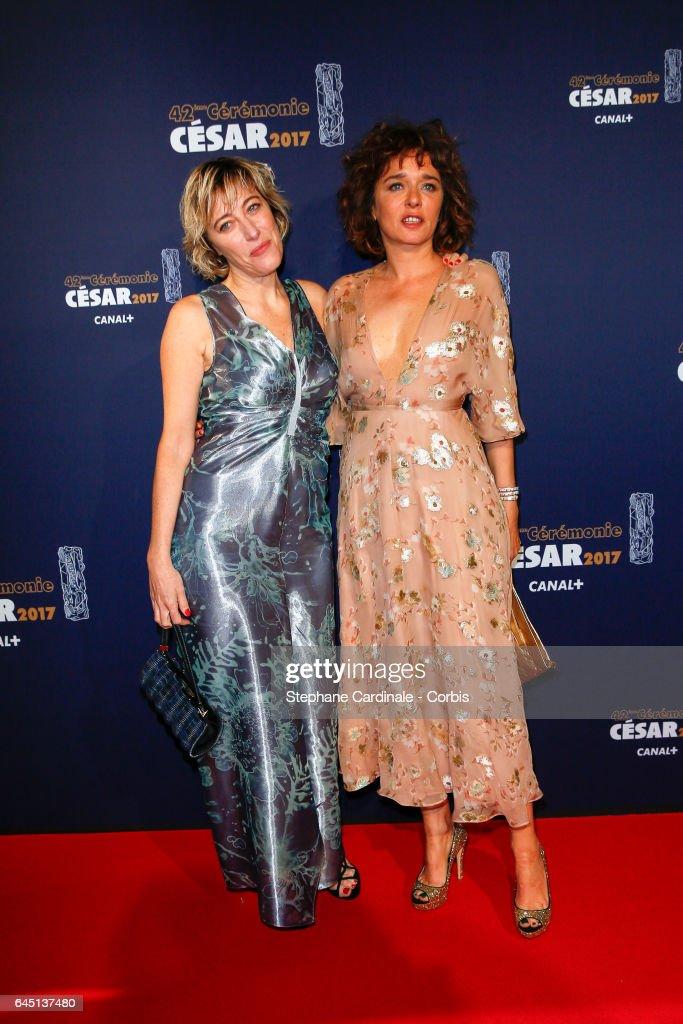 Valeria Golino and Valeria Bruni Tedeschi arrives at the Cesar Film Awards 2017 ceremony at Salle Pleyel on February 24, 2017 in Paris, France.