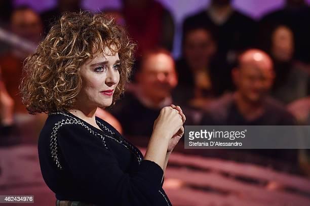 Valeria Golino attends Le Invasioni Barbariche TV Show on January 28 2015 in Milan Italy