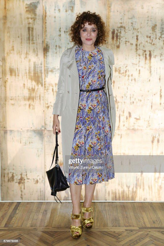 Valeria Golino (in Prada) while attending the Prada Resort 2018 Womenswear Show in Osservatorio on May 7, 2017 in Milan, Italy.