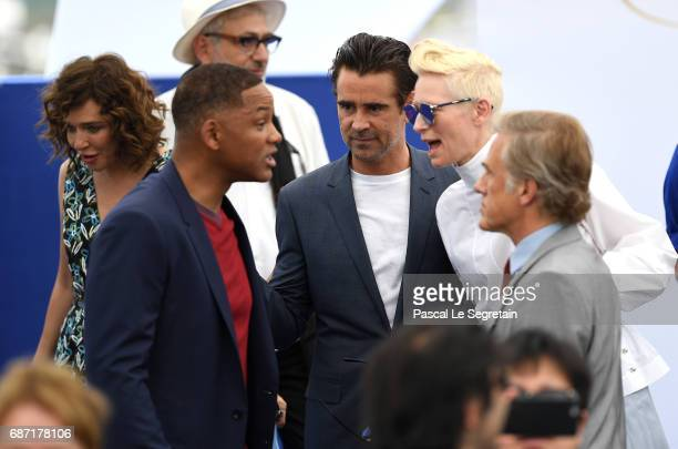 Valeria Golino Will Smith Colin Farrell Tilda Swinton and Christoph Waltz attend the 70th Anniversary photocall during the 70th annual Cannes Film...