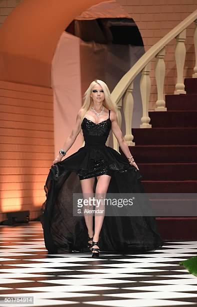 Valeria Lukyanova walks the runway at Dosso Dossi fashion show on December 17 2015 in Antalya Turkey