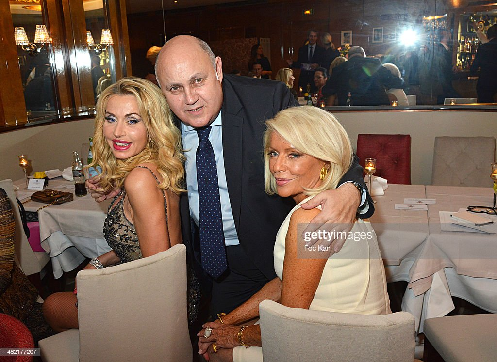 Valeria Marini Alfredo Gallulo and Countess Martine De Leseleuc de Kerouara attend the Penati Al Baretto Restaurant Opening Dinner at the Hotel de...