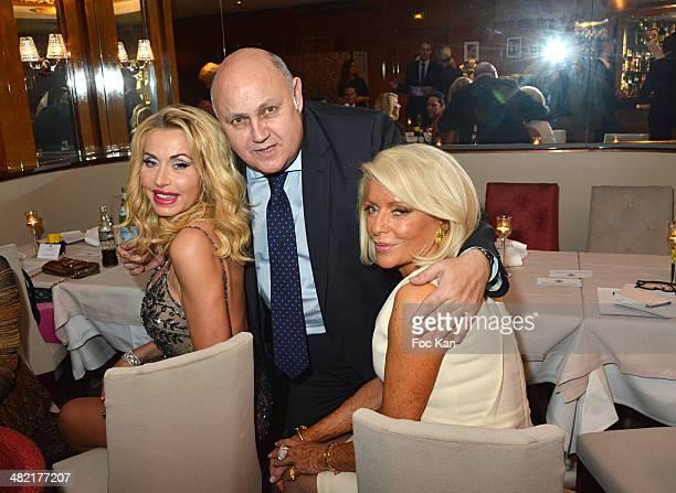 Valeria Marini Alfredo Gallulo and Countess Martine De Leseleuc de Kerouara attend the Penati Al Baretto Restaurant Opening Dinner at the Hotel de...