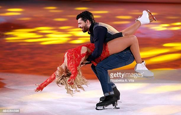 Valeria Marini and her skating partner Federico Degli Esposti perform during the 'Notti Sul Ghiaccio' TV Show at RAI Studios on February 21 2015 in...
