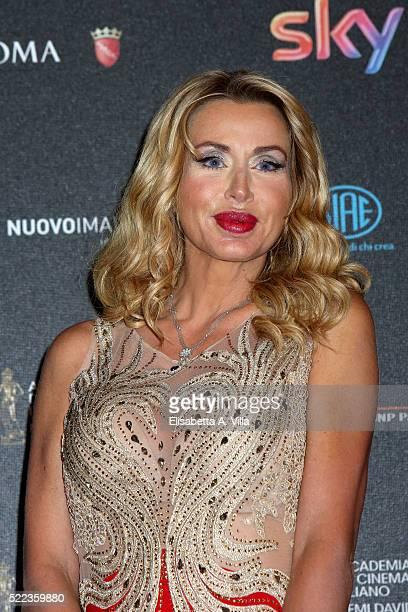 Valeria Marini arrives at the 60 David di Donatello ceremony on April 18 2016 in Rome Italy