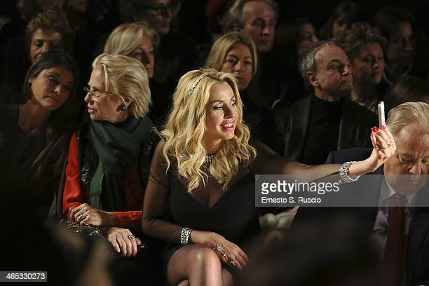 Valeria Marini attends the runway during the Renato Balestra fashion show at Santo Spirito in Sassia as part of AltaRoma Fashion Week Spring/Summer...