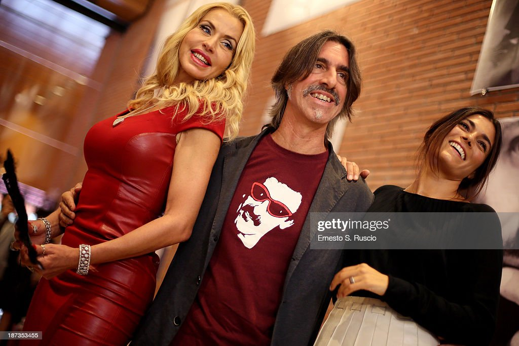 Valeria Marini Fabio Lovino and Valeria Solarino attends the Fabio Lovino Exhibition Opening during the 8th Rome Film Festival at the Auditorium Parco Della Musica on November 8, 2013 in Rome, Italy.