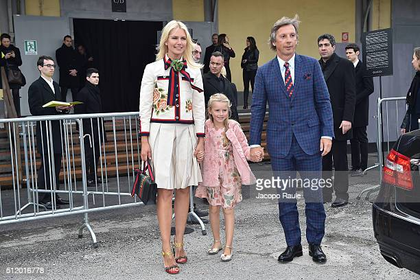 Valeria Mazza Alejandro Gravier and Taina Gravier arrive at the Gucci show during Milan Fashion Week Fall/Winter 2016/17 on February 24 2016 in Milan...