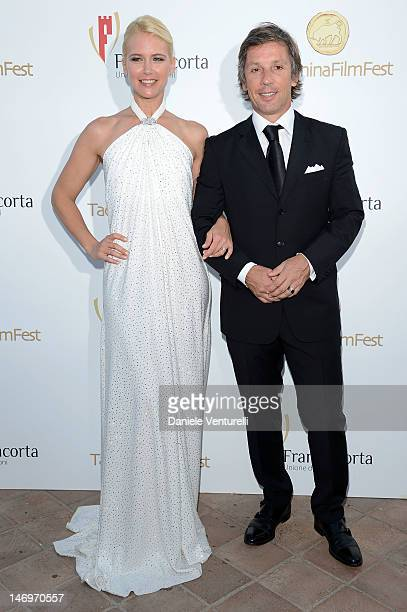 Valeria Mazza and Alejandro Gravier attend the 'Awards Night At Teatro Antico' during the 58th Taormina Film Fest on June 24 2012 in Taormina Italy