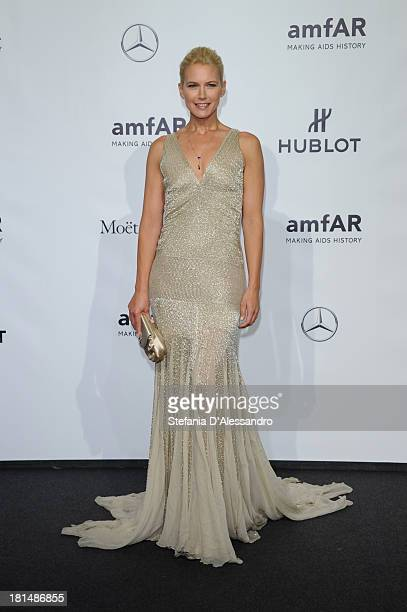 Valeria Mazza attends the amfAR Milano 2013 Gala as part of Milan Fashion Week Womenswear Spring/Summer 2014 at La Permanente on September 21 2013 in...