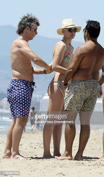 Valeria Mazza her husband Alejandro Gravier and their four sons are seen on August 9 2013 in Marbella Spain