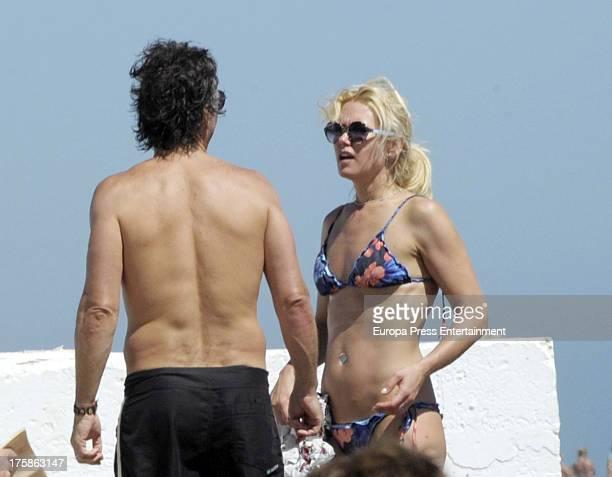 Valeria Mazza her husband Alejandro Gravier are seen on August 8 2013 in Marbella Spain
