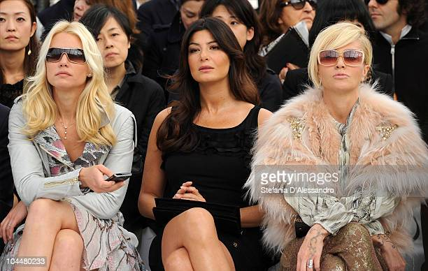 Valeria Mazza Ilaria D'Amico and Paola Barale attend the Roberto Cavalli Fashion Show as part of Milan Fashion Week Womenswear S/S 2011 on September...