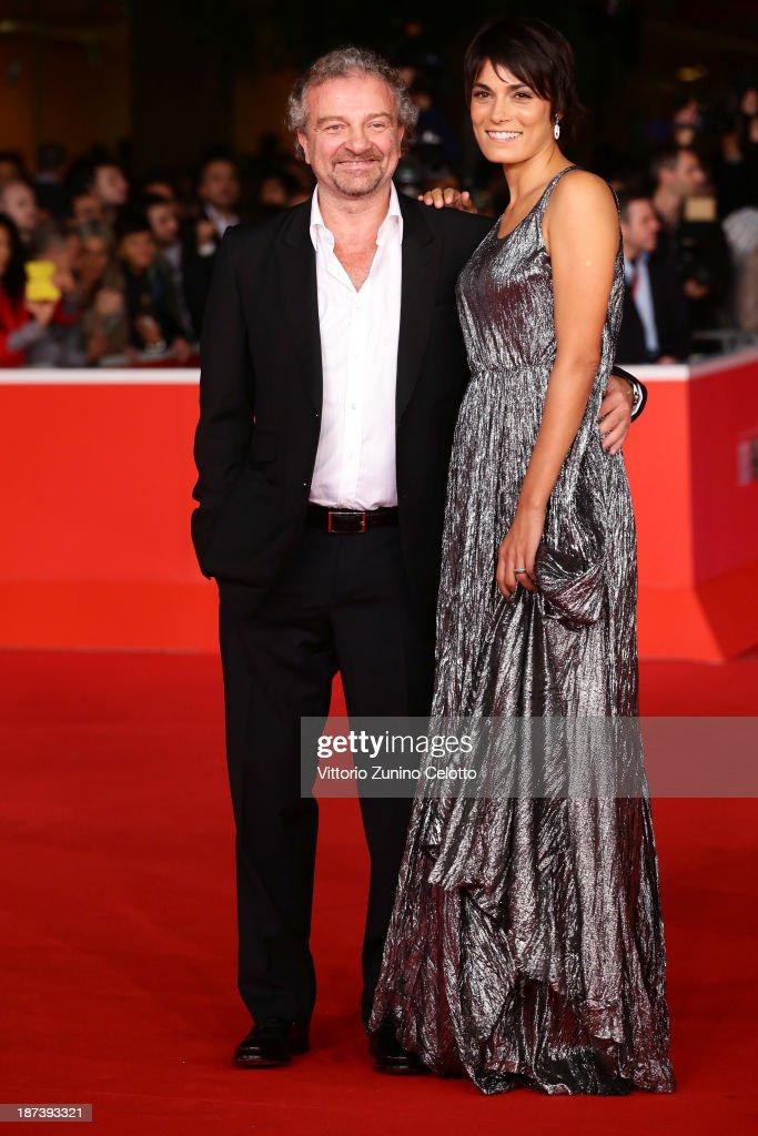 Valeria Solarino and Giovanni Veronesi attend the Opening Ceremony and 'L'Ultima Ruota Del Carro' Premiere during The 8th Rome Film Festival at...