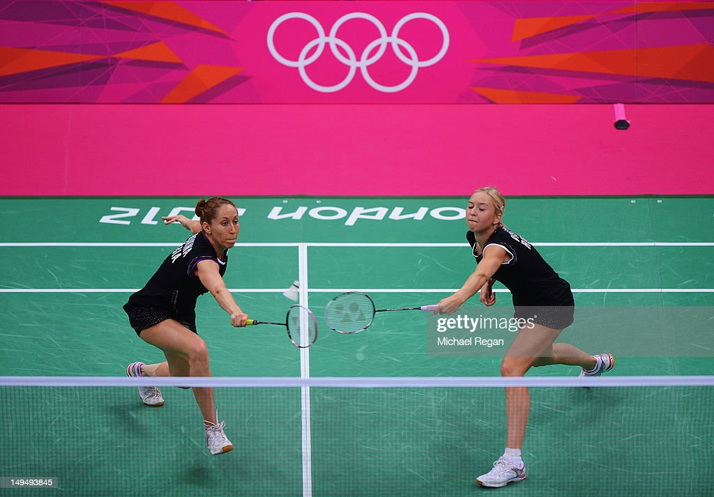 Valeria Sorokina (L) and Nina Vislova (R) of Russia return against Yang Yu (L) and Xiaoli Wang (R) of China in Women's Doubles Badminton on Day 2 of the London 2012 Olympic Games at Wembley Arena on July 29, 2012 in London, England.