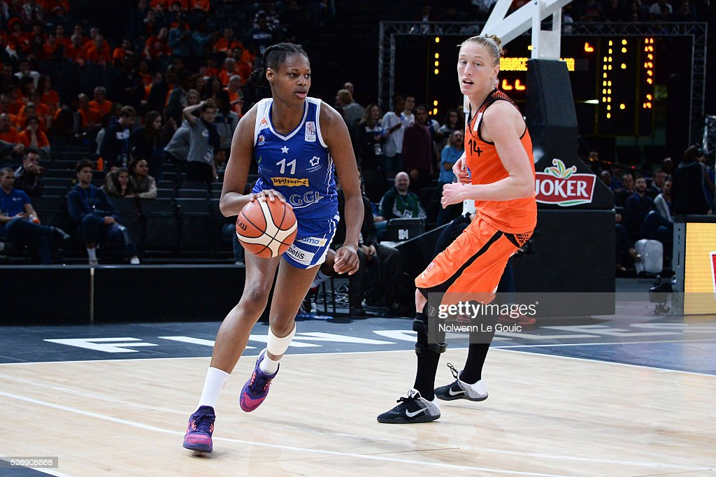 Valeriane Ayayi of Lattes Montpellier during the Basketball Women's National Cup Final match between Bourges and Lattes Montpellier at Hotel Accor Arena Bercy on 1st May, 2016 in Paris, France.