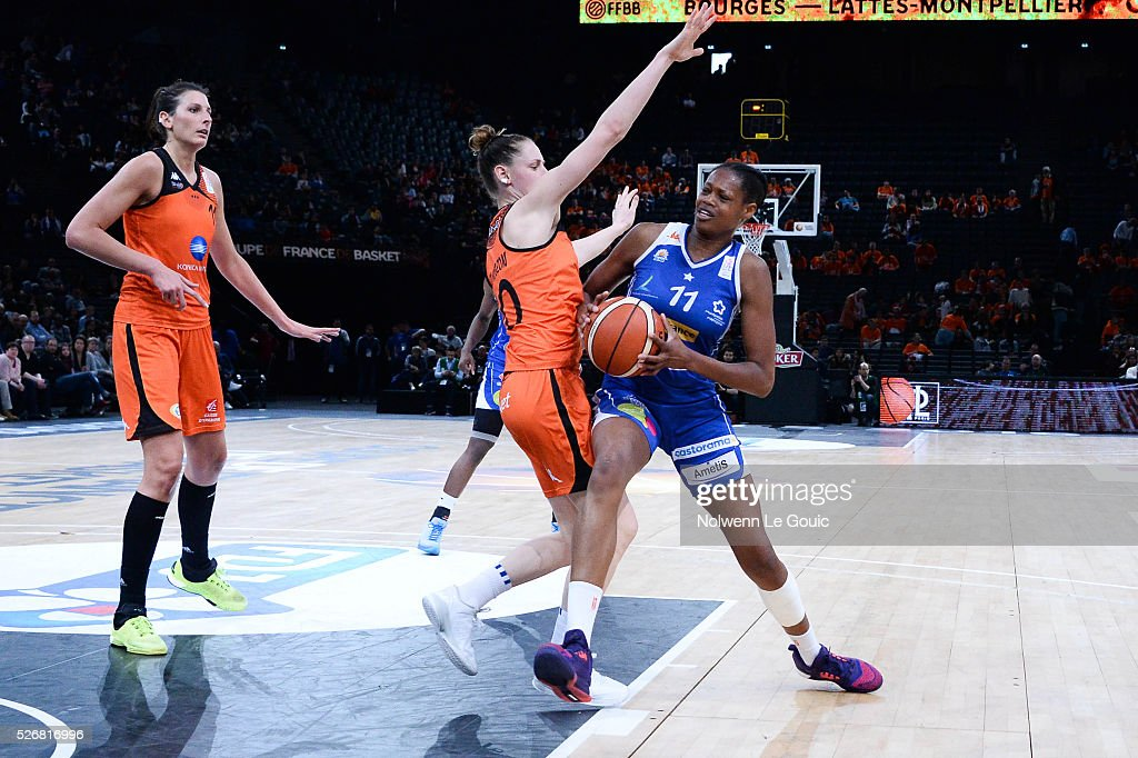 Valeriane Ayayi of Lattes Montpellier during the French Cup final match between Bourges and Lattes Montpellier at Hotel Accor Arena Bercy on 1st May, 2016 in Paris, France.