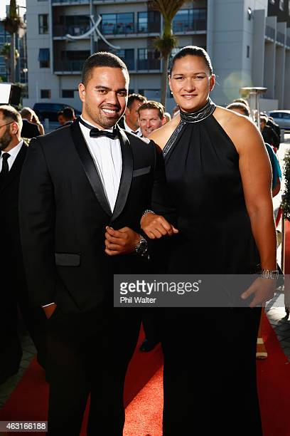 Valerie Adams and Gabriel Price arrive at the 2015 Halberg Awards at Vector Arena on February 11 2015 in Auckland New Zealand