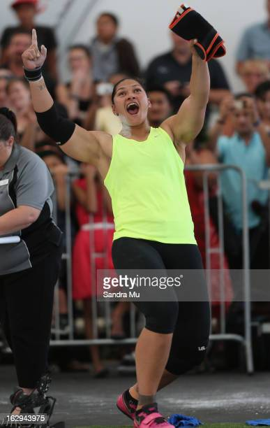Valerie Adams celebrates her Oceania record as she competes in The Shot In The City at The Cloud on Queen's Wharf on March 2 2013 in Auckland New...