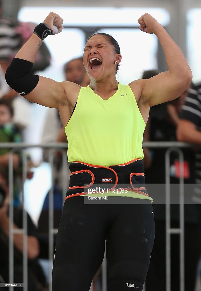 <a gi-track='captionPersonalityLinkClicked' href=/galleries/search?phrase=Valerie+Adams&family=editorial&specificpeople=2174723 ng-click='$event.stopPropagation()'>Valerie Adams</a> celebrates her Oceania record as she competes in The Shot In The City at The Cloud on Queen's Wharf on March 2, 2013 in Auckland, New Zealand.