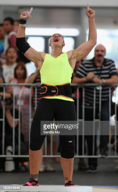 Valerie Adams celebrates her Oceania record with coach JeanPierre Egger looking on as she competes in The Shot In The City at The Cloud on Queen's...