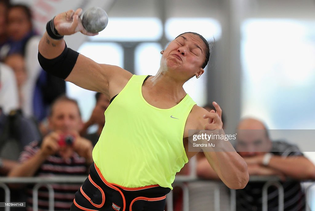 <a gi-track='captionPersonalityLinkClicked' href=/galleries/search?phrase=Valerie+Adams&family=editorial&specificpeople=2174723 ng-click='$event.stopPropagation()'>Valerie Adams</a> competes in The Shot In The City at The Cloud on Queen's Wharf on March 2, 2013 in Auckland, New Zealand.
