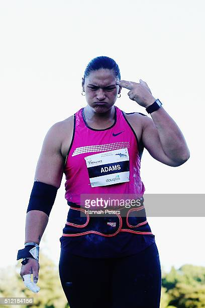 Valerie Adams competes in the Women's Shot Put final during the Auckland Track Challenge at The Trusts Arena on February 25 2016 in Auckland New...