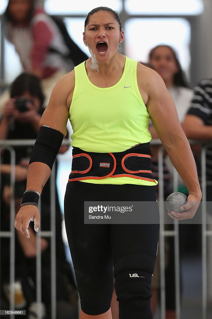 Valerie Adams gets the crowd support as she competes in The Shot In The City at The Cloud on Queen's Wharf on March 2, 2013 in Auckland, New Zealand.