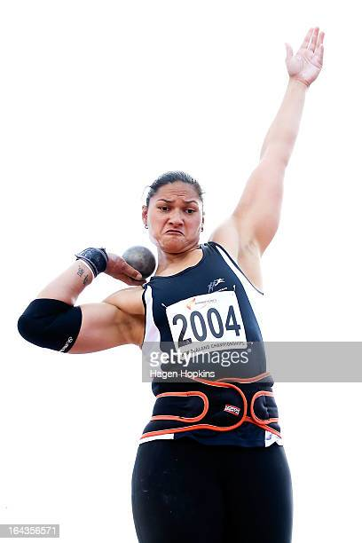 Valerie Adams of Auckland competes in the women's senior shot put final during the New Zealand Track and Field Championships at Mt Smart Stadium on...
