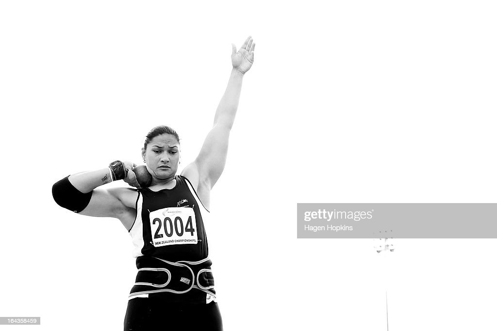 <a gi-track='captionPersonalityLinkClicked' href=/galleries/search?phrase=Valerie+Adams&family=editorial&specificpeople=2174723 ng-click='$event.stopPropagation()'>Valerie Adams</a> of Auckland competes in the women's senior shot put final during the New Zealand Track and Field Championships at Mt Smart Stadium on March 23, 2013 in Auckland, New Zealand.