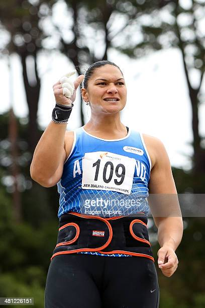 Valerie Adams of Auckland reacts after a throw in the women's shotput during the New Zealand track and field championships at Newtown Park on March...