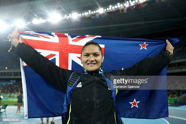 Valerie Adams of New Zealand celebrates after placing second in the Women's Shot Put Final on Day 7 of the Rio 2016 Olympic Games at the Olympic...