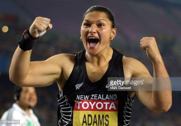 Valerie Adams of New Zealand celebrates after winning the women's shot put final during day three of the 13th IAAF World Athletics Championships at...