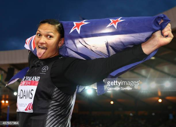 Valerie Adams of New Zealand celebrates as she wins gold in the Women's Shot Put Final at Hampden Park during day seven of the Glasgow 2014...
