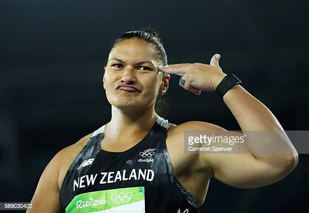 Valerie Adams of New Zealand celebrates during the Women's Shot Put Final on Day 7 of the Rio 2016 Olympic Games at the Olympic Stadium on August 12...