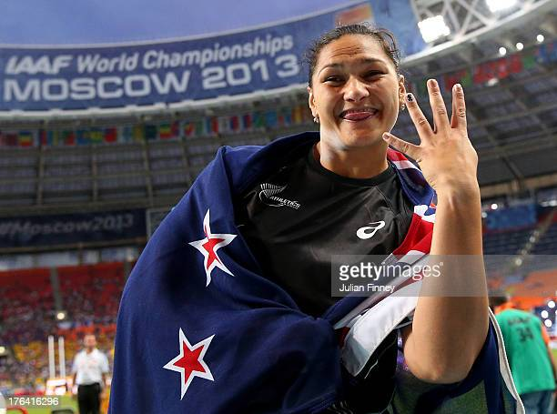 Valerie Adams of New Zealand celebrates winning gold in the Women's Shot Put Final during Day Three of the 14th IAAF World Athletics Championships...