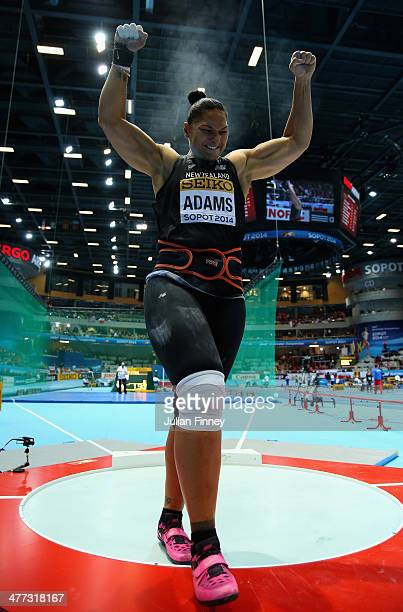 Valerie Adams of New Zealand celebrates winning the gold medal in the Women's Shot Put final during day two of the IAAF World Indoor Championships at...